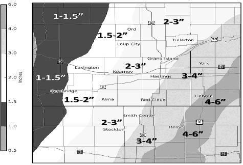 National Weather Service courtesy photo          These amounts are from Sunday night through daybreak Wednesday. This is in addition to what fell Sunday.