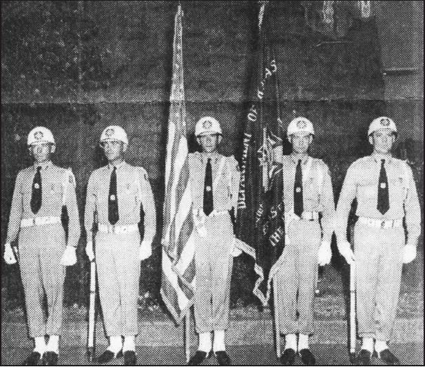 The first Color Guard formed by Bob (Pete) Petterson shown from left to right includes: Bob Petterson, Leon Jorgensen, Hollis Donker, Elwin Edgar and Bob Clark.