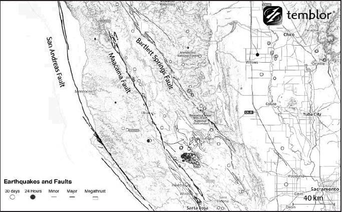 The San Andreas Faults' two sister fault lines including the Maacama and Barlett Springs faults were showing significant activity during the recent quakes and thought to be the cause of the 6.4 and 7.1 earthquakes on July 4-5.