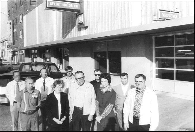 Past employees and prior owners include, from left to right, front row: Darrell Wilcoxson, Juanita Bliss, Lester Hansen (previous owner), Joice Kimerer, Herman Eck (previous owner). Back row: Bernard Eck (Owner), Gene Kimerer, Don Stout, Bud Criswell, Bob