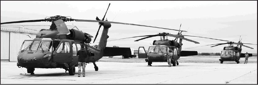 Sharon Sahlfeld photo Three H-60V (Victor) helicopters landed at the Moritz Memorial Airport in Beloit as they waited for weather to clear their way to Salina on Wednesday afternoon. The three aircrafts are the only type in the world at this moment as fli