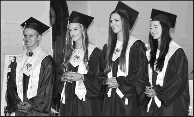 Gold Cord Academic Honors go to Valedictorian Kail Dubbert, Elle Eilert, Salutatorian Kara Eilert and Laura Meyer.