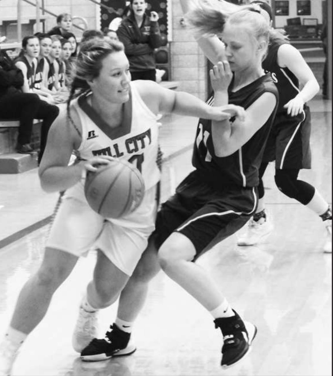 Emily Eilert plays tough defense for the Lady Jays.Jeri Dubbert courtesy photo