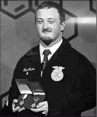 Tate Ahlvers represents Beloit, Kansas as being named this years 2019 FFA National Champion in the Forage Production Proficiency category.