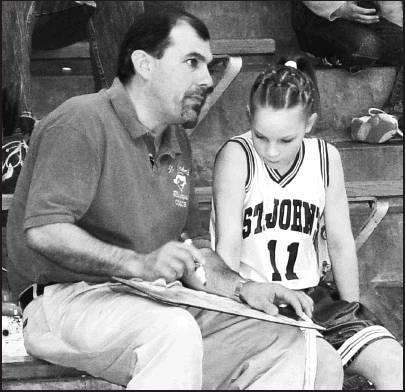 Coach Keith Kresin goes over plays with Damaris Niewald in 2005.
