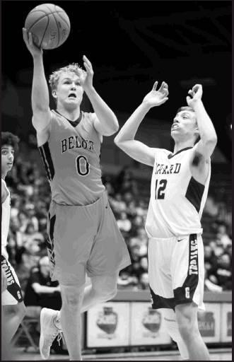 Trojan senior Carson Cox on the shot for Beloit. Cox scored six treys in the first half of the State Championship game and was named All-tournament team along with junior Vincent Palen.