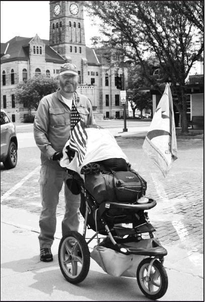 Jimmy Novak completed 1200 miles on foot when arriving in Beloit on May 29 as he advocates for Veterans suicide prevention.