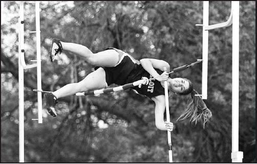 "Blaise Spangler clears the 10' 6"" pole vault mark for a silver medal and state qualifying height. Stephanie Meier courtesy photos"