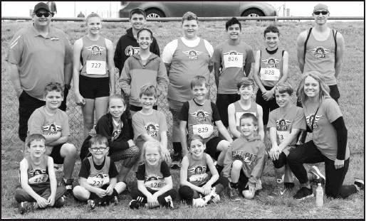 Beloit Flyers competing in the Clay Center Youth Track Meet are, from left to right, front row: Simeon Horinek, Kael Rabe, Katana Gilley, Sydney Stephens, Abram Bletscher. Middle row: Braxton Collins, Landry Litton, Jaxson Collins, Kaden Rabe, Ashton Blet