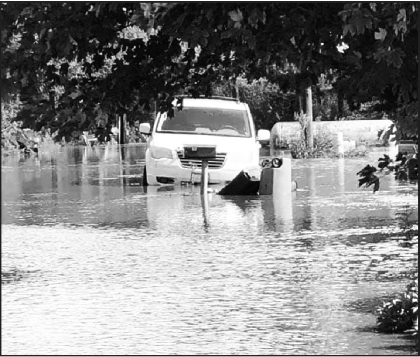 The town of Simpson was closed on Saturday coming from Highway 24 as flood waters were received with over 7 inches of rain in areas on Friday and Saturday.