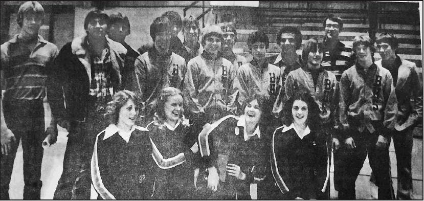 The 1980 Beloit High School Trojan wrestling teamed earned their first State Champion team title under the direction of Coach Ken Piazza and are from left to right, front row: Kristi Riemann, Barb Walter, Keri Hewitt and Christy Reid. Middle row: Eddie De