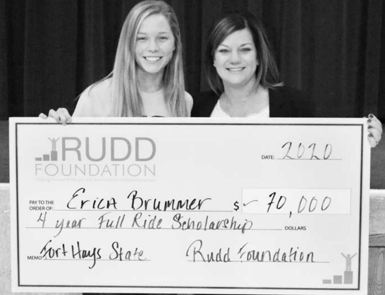 Erica Brummer (left) of Tipton Catholic High School has been named a Rudd Scholarship recipient to receive a full ride to Fort Hays State University next year.