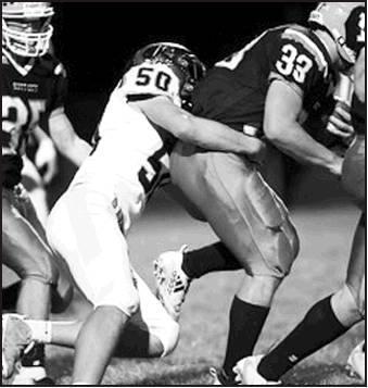 Junior Trase McQueen No. 50, makes the sack for Beloit.