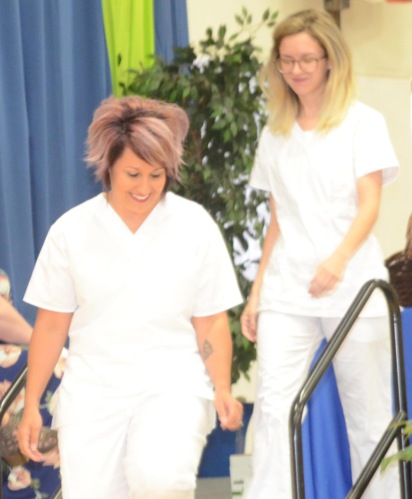 Meg Williams and Amanda Wagner receive Hodler Scholarships.
